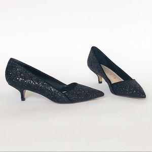 Sole Society Black Glitter Desi Kitten Heel Pump